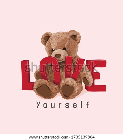 cute bear toy with red love slogan illustration