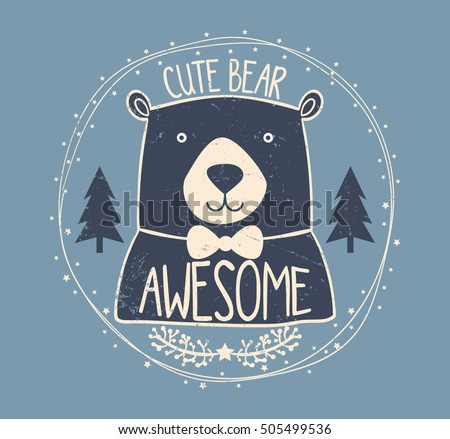 cute bear typography  t shirt