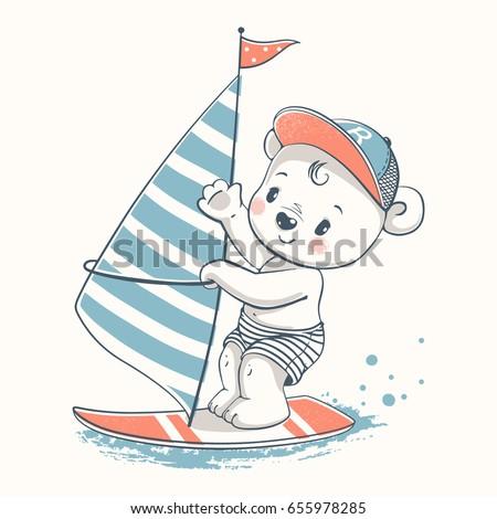 cute bear windsurfer cartoon