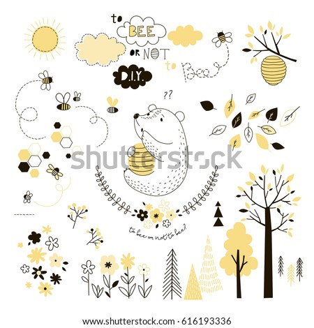 cute bear with beehive   design