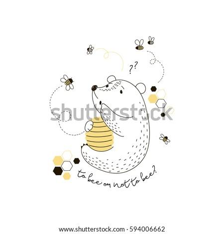 cute bear with beehive   kid