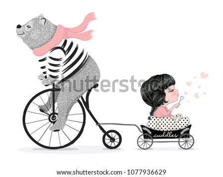 Cute bear with bicycle and little girl vector design.Animal illustration.T-shirt graphic.