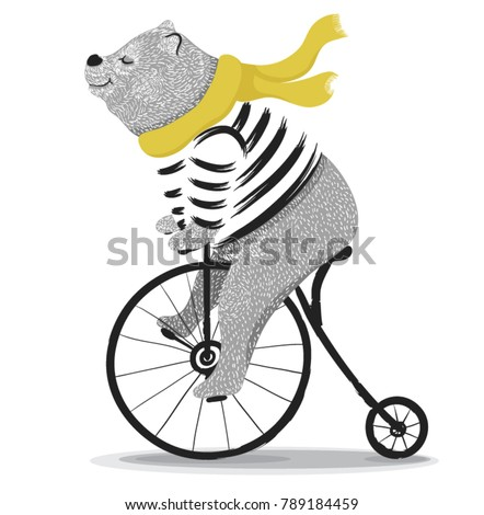 Cute bear with bicycle.Circus show illustration.T-shirt graphics  - Shutterstock ID 789184459