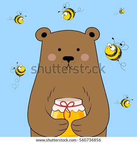 cute bear with honey bear and