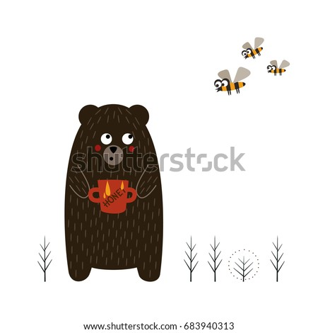 cute bear with pot of honey and