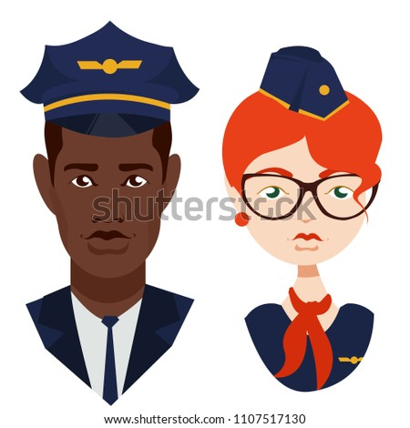 Cute, beautiful an African American pilot with in blue, air. stewardess ore with a red scarf, in glasses. airline, plane, flight Modern vector image design isolated on white background. bon voya