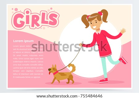 Cute beautiful girl walking with her dog, girls banner flat vector element for website or mobile app