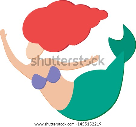 Cute beautiful little mermaid Ariel with red hair and green tail on a white background isolated. Nymph without face floats in vector.