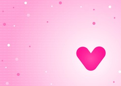 Cute beautiful pink heart cartoon on polka dot  light pink background.Romantic love valentine concept design.Template for card,paper,web,page,wedding card.Design for Valentine's day.