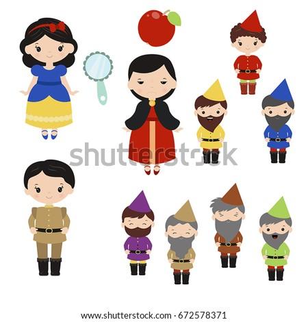 Cute beautiful princess. Snow white and the seven dwarfs.