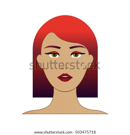 Cute Beautiful Young Girl Face With Red Ombre Hair In Vector Bob