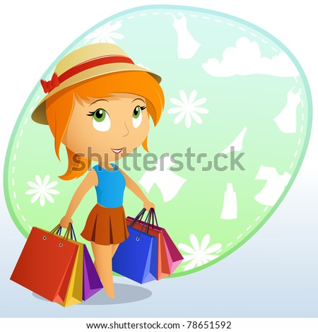 Cute beauty girl in the cap with shopping bags on background. Vector illustration.