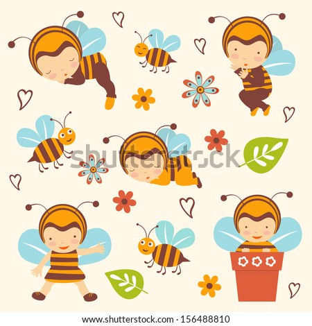 Cute bee babies collection
