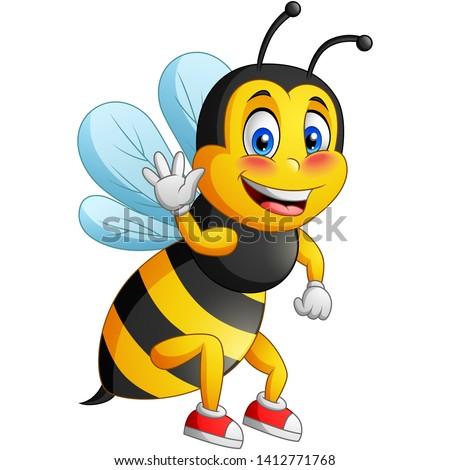 cute bee cartoon flying vector