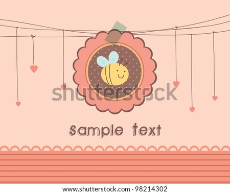 Cute Bee Design for invitation, card, paper goods.