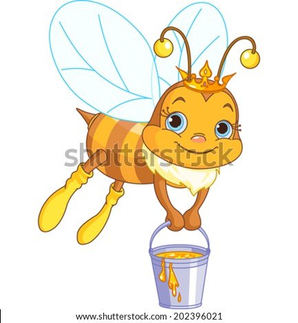 cute bee flies with a bucket