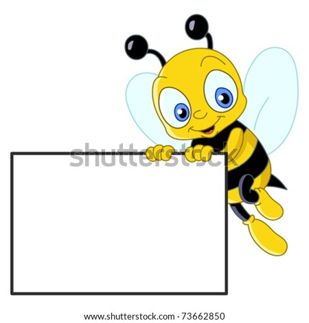 Cute bee holding a blank sign
