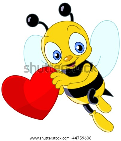 stock vector : Cute bee holding a heart