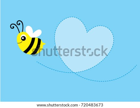 cute bee valentine message card