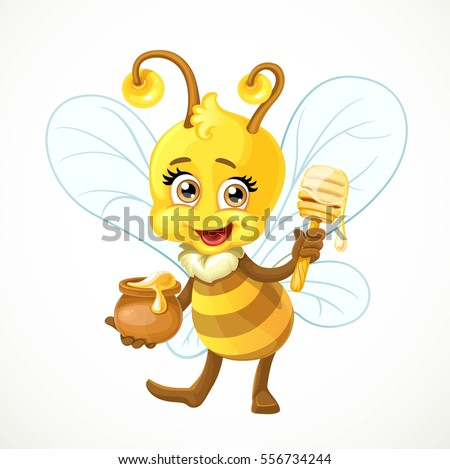 Cute bee with clay pot full of honey and wooden dipper stand on a white background