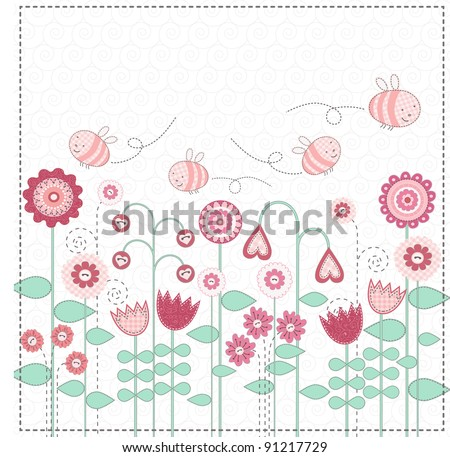 Cute bees are flying over flower meadow. Vector illustration