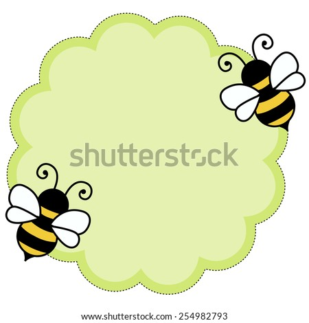 cute bees flying around green