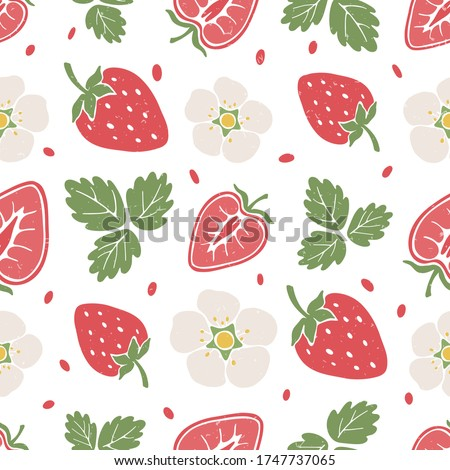 Cute berry seamless pattern. Ripe strawberry, strawberry lobules, flowers and leaves on white background. Vector shabby hand drawn illustration