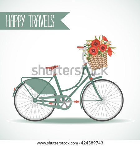 cute bicycle with basket full...