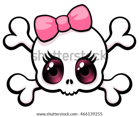 cute big eyed girl skull with a