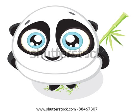 Cute big-eyed panda with bamboo.Vector illustration