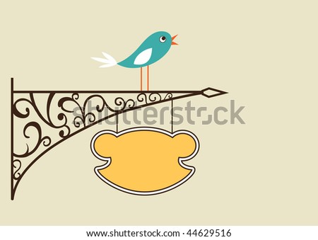 Cute bird and antique signboard, vector illustration