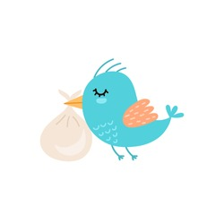 Cute bird carrying baby bag. Baby shower Isolated element. Funny character for kids design. Vector illustration