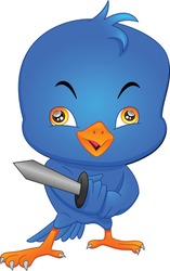 cute bird cartoon holding sword