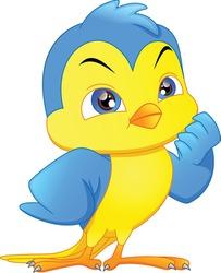 cute bird cartoon on a white background