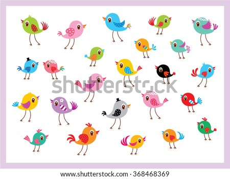 cute bird collection vector