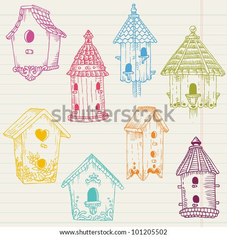 Cute Bird House Doodles - hand drawn in vector - for design and scrapbook