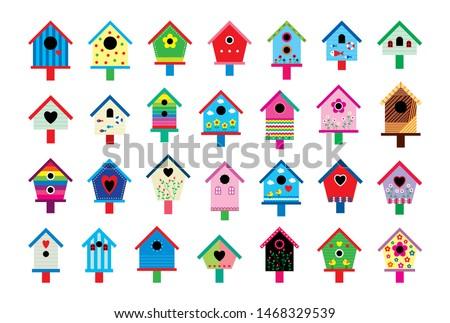 cute bird house vector collection Foto stock ©
