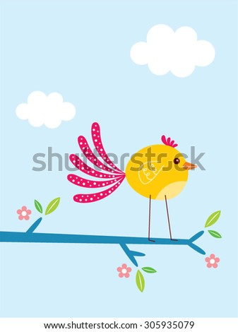 cute bird in spring