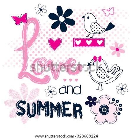 cute bird  love and summer card