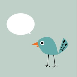 cute bird message vector