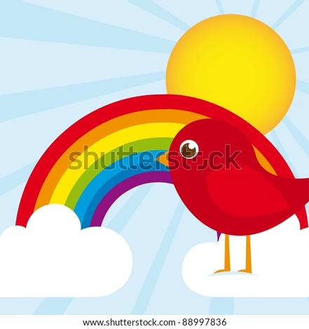 cute bird over rainbow, landscape. vector illustration
