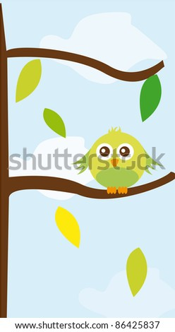 cute bird over tree with leaves over sky background. vector