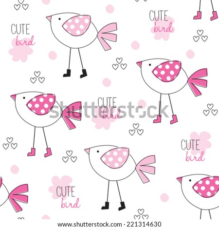 cute bird pattern vector