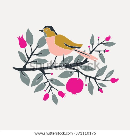 cute bird sitting on blossom