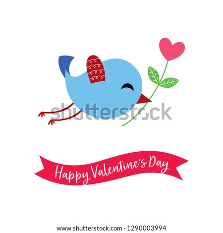 cute bird with flower happy valentine's day greeting vector
