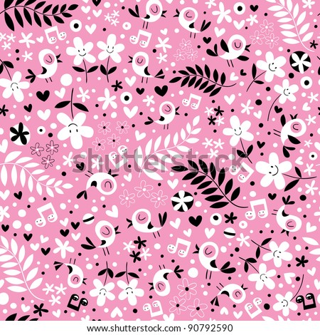 cute birds and flowers pink seamless pattern