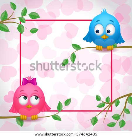 Vector Images, Illustrations and Cliparts: Cute Birds Couple in Love ...