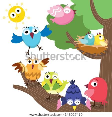 Cute Birds Family