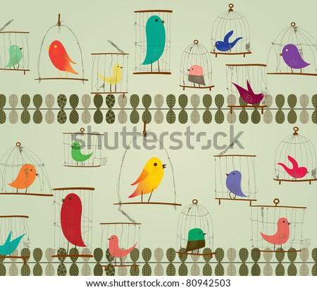 Cute Birds in The Cage Concept Design. Retro Style.