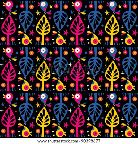 cute birds in the trees pattern